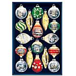 Thomas Kinkade Shimmering Splendor 18-Piece Heirloom Glass Ornament Set