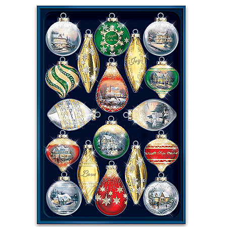 Thomas Kinkade Shimmering Splendor 18-Piece Heirloom Glass Ornament Set