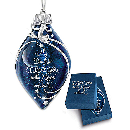Daughter, I Love You To The Moon And Back Personalized Ornament