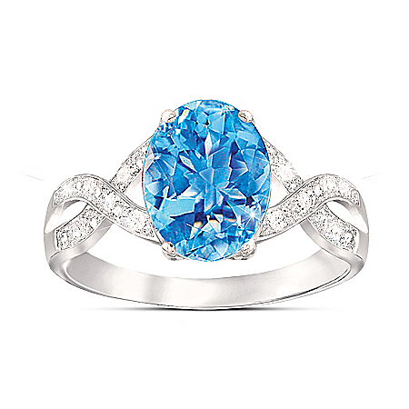 Summer Breeze Swiss Blue Topaz & Diamond Sterling Silver Ring