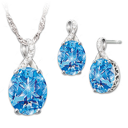 Summer Breeze Topaz And Diamond Necklace And Earrings Set