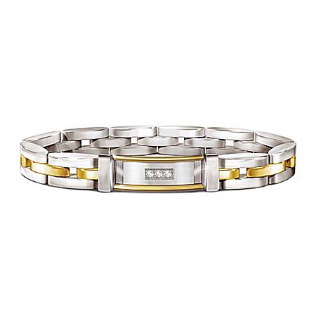 Today, Tomorrow And Always Dear Father Personalized Diamond Stainless Steel Bracelet – Personalized Jewelry