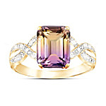 Sunset Oasis 18K Gold-Plated Ametrine And Diamond Ring
