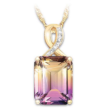Sunset Oasis Women's Ametrine And Diamond Pendant Necklace