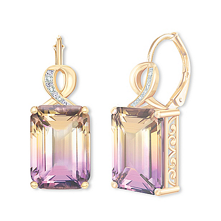 Sunset Oasis 18K Gold-Plated Ametrine And Diamond Earrings