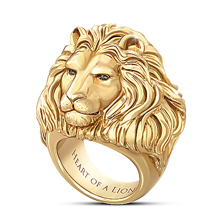 Heart Of A Lion 24K Gold-Plated Men's Ring
