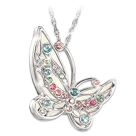 Colors Of Inspiration Swarovski Crystal Butterfly Pendant Necklace