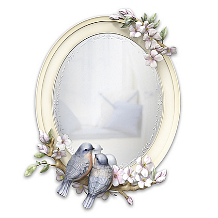 Springtime Songbirds Handcrafted Sculpted Mirror