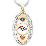 For The Love Of The Game Denver Broncos Crystal Pendant Necklace