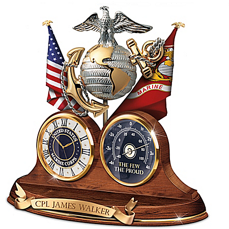 USMC Semper Fi Personalized Thermometer Desk Clock