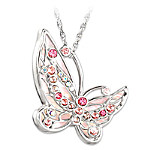 Colors Of Hope Breast Cancer Awareness Butterfly Pendant Necklace