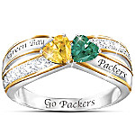 Heart Of Green Bay Sterling Silver Ring With 18K-Gold Plating