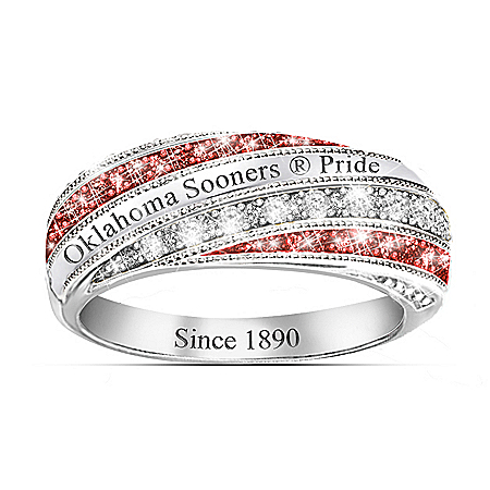 University Of Oklahoma Sooners In Vogue Women's Sterling Silver Ring