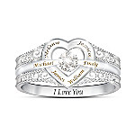 I Love My Family Personalized Sterling Silver Diamond Ring