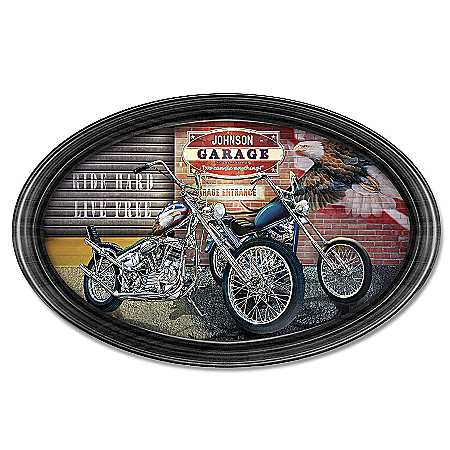 Handcrafted Freedom Rider Personalized Oval Collector Plate
