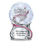 My Daughter, I Wish You Musical Glitter Globe With Heart Charm And Swarovski Crystal