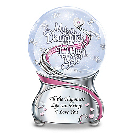 My Daughter, I Wish You Musical Snowglobe With Heart Charm And Swarovski Crystal