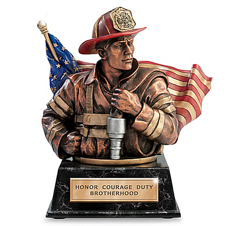 Heart Of A Hero Firefighter Cold-Cast Bronze Bank