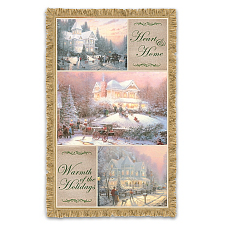 The Bradford Exchange Online - Thomas Kinkade Celebrate The Season Christmas Throw Blanket Photo