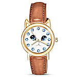 Cat O-Clock Women's Watch With Adjustable Leather Strap
