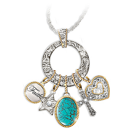Charmed Blessings Turquoise Pendant Necklace With Western Style Charms