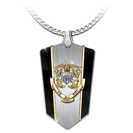 Anchors Aweigh U.S. Navy Men's Dog Tag Pendant Necklace