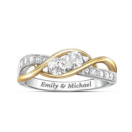 The Two Of Us Personalized Sterling Silver White Topaz Ring