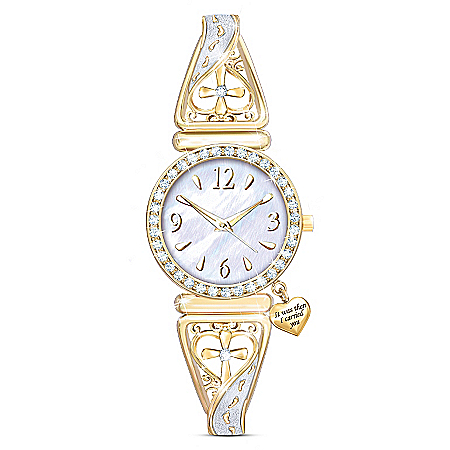 Footprints Of Faith Gold-Tone Filigree-Designed Religious Women's Watch