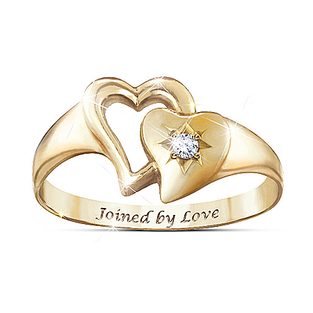 Joined By Love 18K Gold-Plated Engraved Diamond Ring
