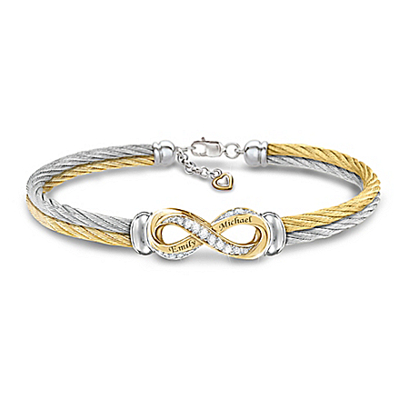Infinite Love Personalized Topaz Infinity Cable Bracelet – Personalized Jewelry