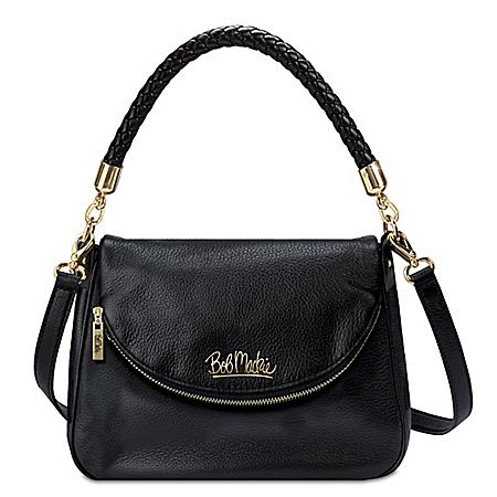 Bob Mackie Burbank Black Leather Handbag