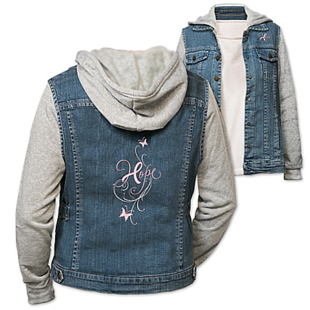Hope In Style Women's Embroidered Denim Vested Hoodie
