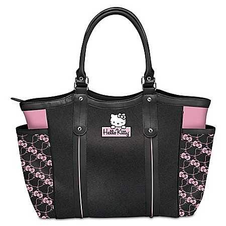 Exclusive Applique Patch Hello Kitty Style Icon Shoulder Tote Bag