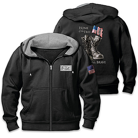 Because Of The Brave Men's Patriotic Hoodie 122824001