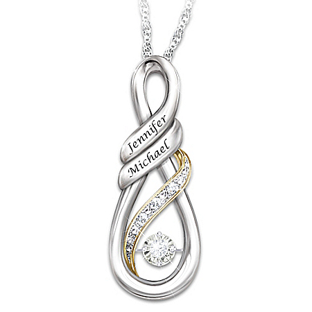 I Love You Brilliant Motions Personalized Diamond Pendant Necklace