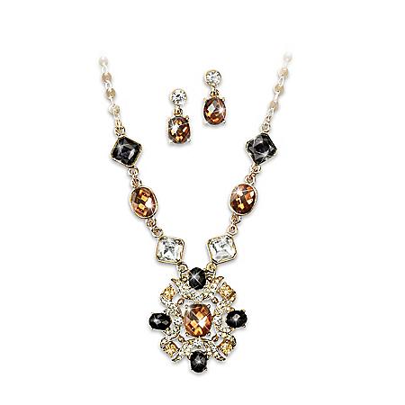 Fireside Women's Necklace And Drop Earrings Set