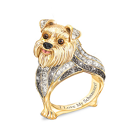 Best In Show Engraved 18K Gold-Plated Schnauzer Ring