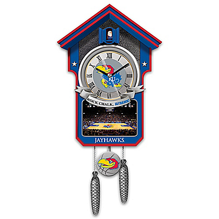 University Of Kansas Jayhawks College Basketball Cuckoo Clock