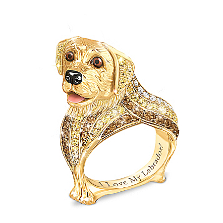 Best In Show Engraved 18K Gold-Plated Labrador Ring