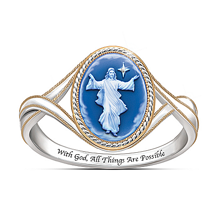 Light Of The Lord 18K Gold-Plated Jesus Ring