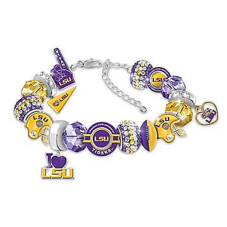 Fashionable Fan Louisiana State University Tigers Charm Bracelet