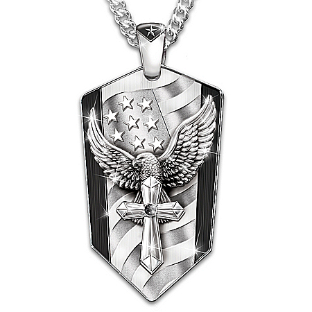 God Bless America Stainless Steel Eagle Pendant Necklace