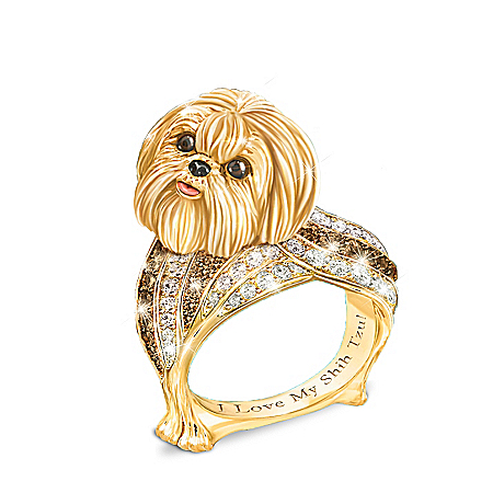 Best In Show Engraved 18K Gold-Plated Shih Tzu Ring