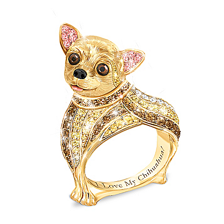 Best In Show Engraved 18K Gold-Plated Chihuahua Ring