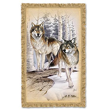 Woodland Majesty Timberwolf Throw Blanket