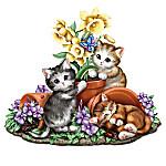 Summer's Sunny Flowers Seasonal Hand-Painted Cat Sculpture