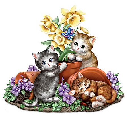 Summer's Sunny Flowers Seasonal Hand-Painted Cat Sculpture