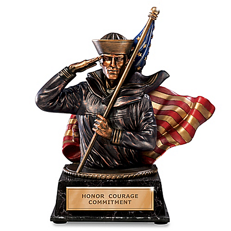 Heart Of Courage US Navy Cold-Cast Bronze Bank