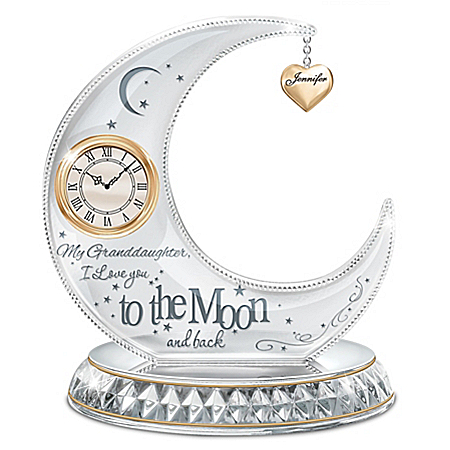 My Granddaughter, I Love You To The Moon Personalized Illuminated Crystal Clock