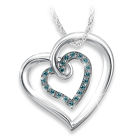 Always In My Heart Sterling Silver Blue Diamond Pendant Necklace